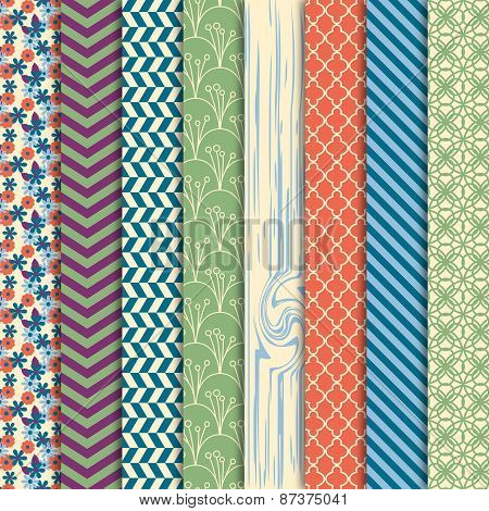 Vector Collection of Bright and Colorful Backgrounds or Digital Papers in Masculine Colors