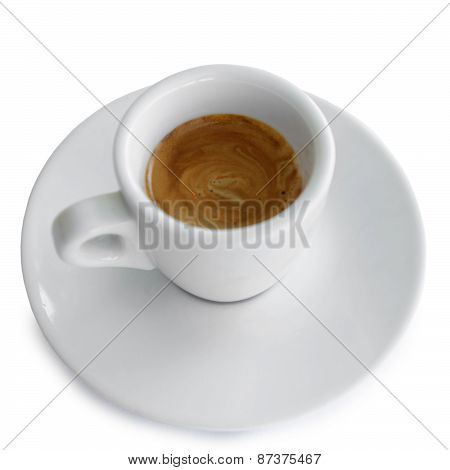 Espresso Coffee In A White Cup