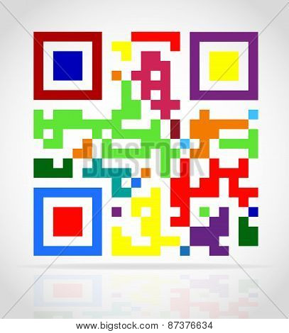 Multicolored Qr Code Vector Illustration