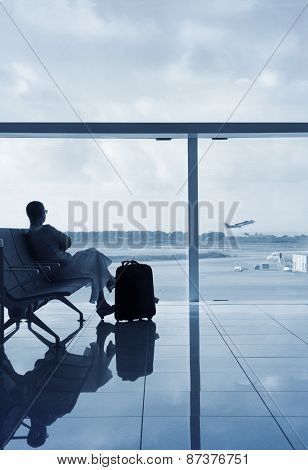 Lady Waiting For The Flight