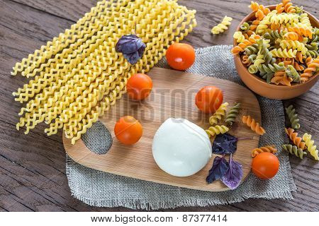 Various Types Of Fusilli With Ingredients