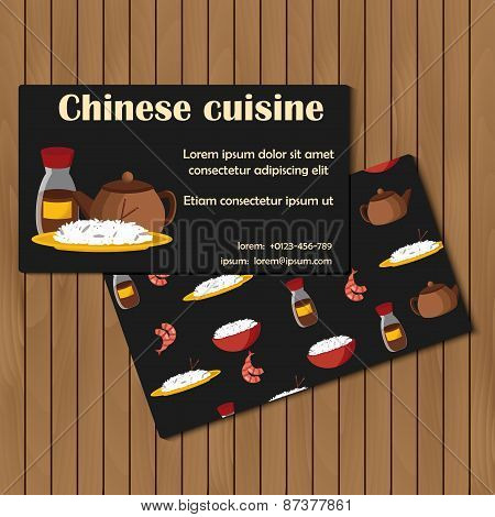 Template for card or booklet on chinese cuisine theme