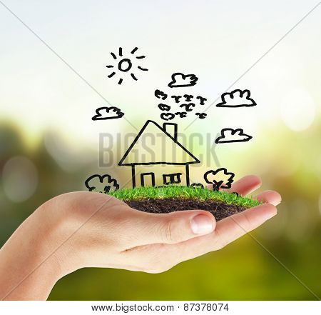 house in human hands,symbol