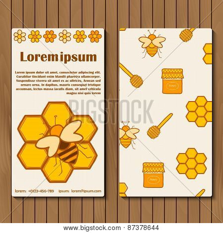 Template for booklet, card or flyer on beekeeping theme with hand drawn objects