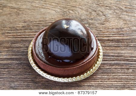 Chocolate Cake on wooden