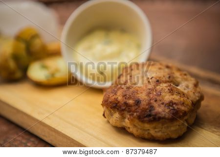 Succulent cooked beef burger with potato