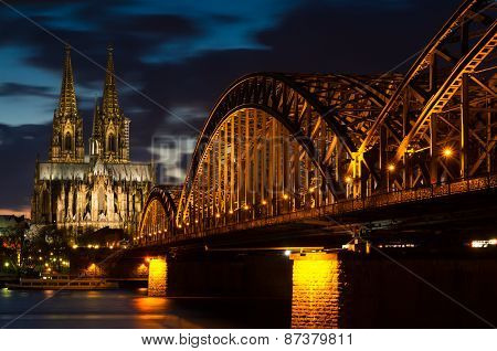 Cathedral Of Cologne At Twilight
