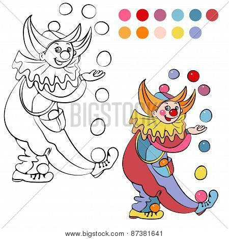 Coloring book with cheerful clown - vector illustration.