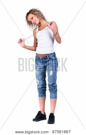 young dancing woman isolated on a white background