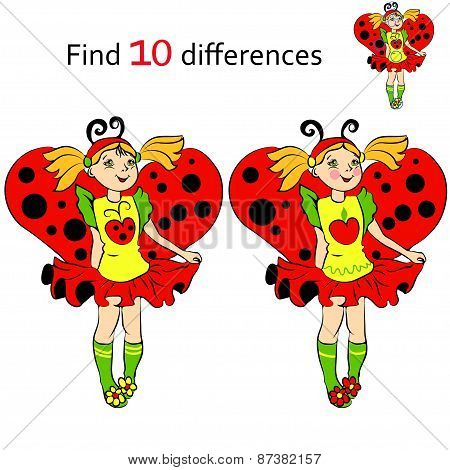 Find 10 differences girl in costume Ladybug