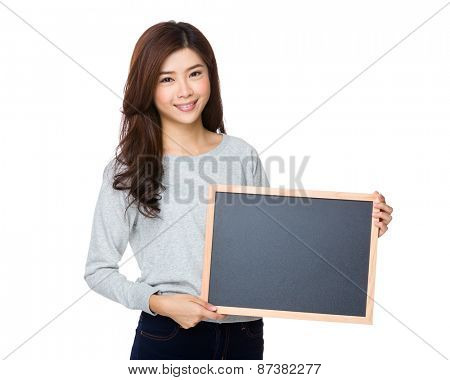 Asian woman show with black board