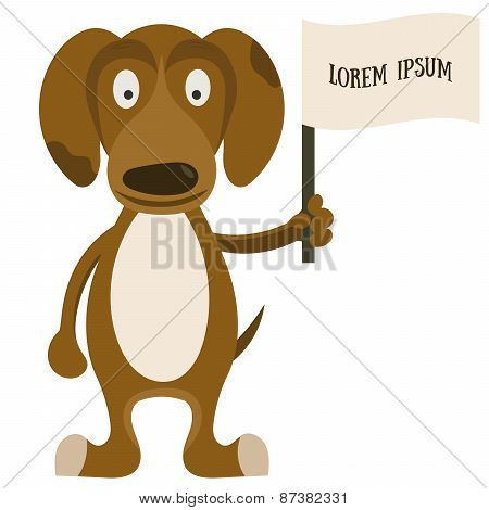 Cartoon dog with flag for text.
