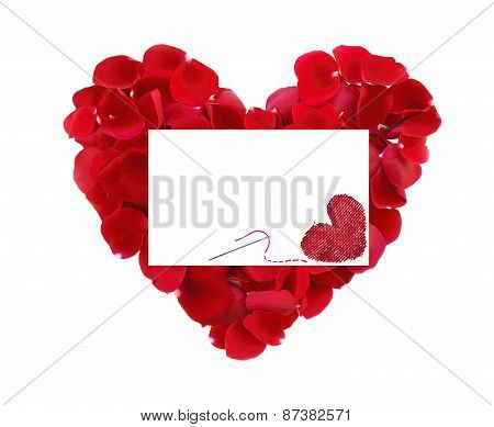 Beautiful Heart Of Red Rose Petals And Greeting Card With Textile Heart And Needle