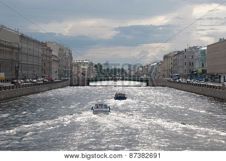 Saint-Petersburg. Russia. Boats on the Fontanka River