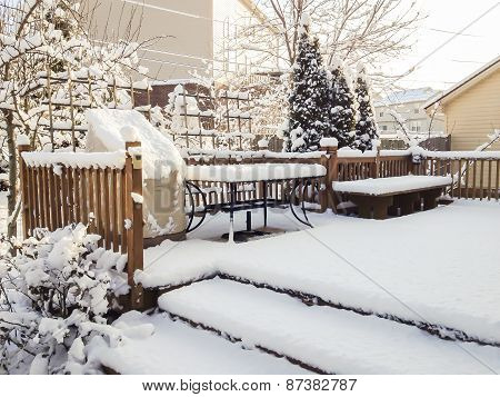 Snow On Garden Patio, Winter Scenery.