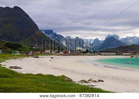 Ramberg Beach in the Lofoten Islands, Norway,