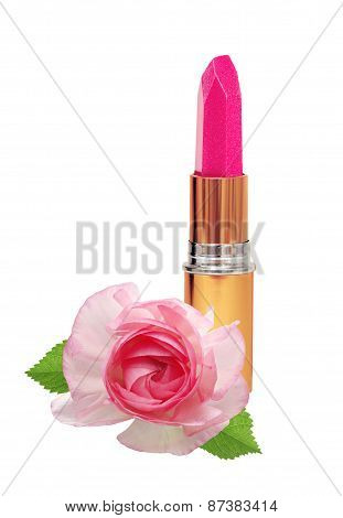 Beautiful Pink Lipstick In Golden Tube And Pink Rose Isolated On White
