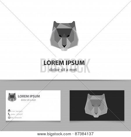 Abstract Vector Tiger Logo Template With Business Card