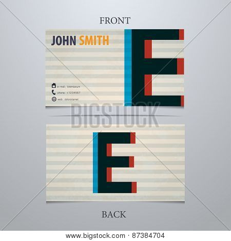 Business Card Template, Letter E