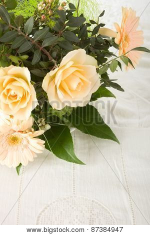 Flowers on a tablecloth