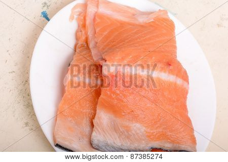 Fresh Uncooked Red Fish Fillet Slices