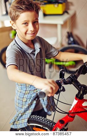 Cheerful boy with bicycle looking at camera