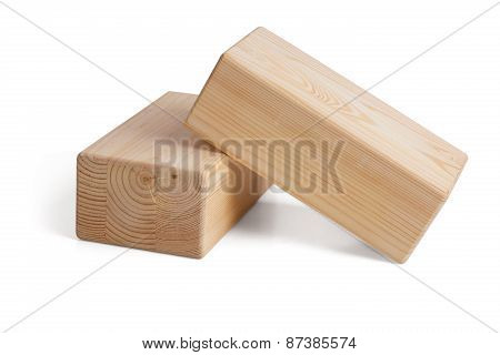 Wooden Bricks For Yoga On A White Background