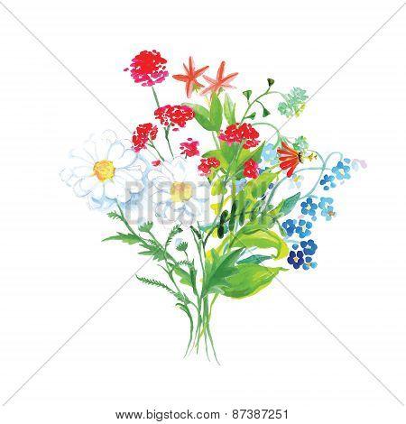 Wildflowers Bouquet Vector Design Set
