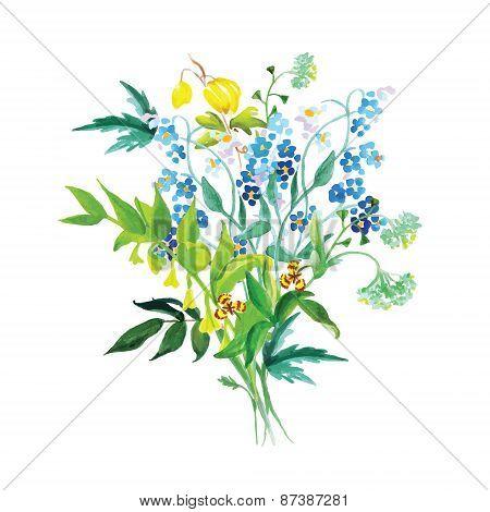 Meadow Flowers Garland Vector Design Set