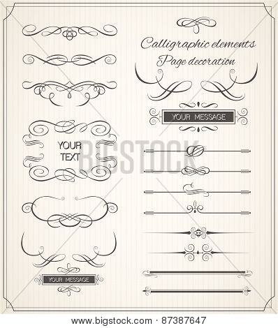 Vector set of calligraphic elements for design.