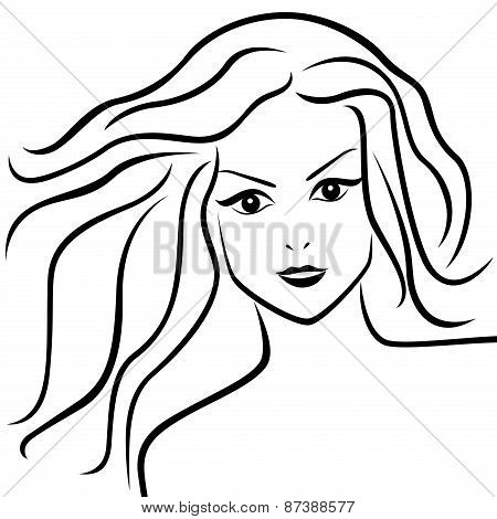 Abstract Young Woman With Flowing Hair