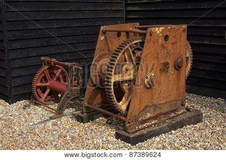 Old Rusty Boat Winches At Hastings, England