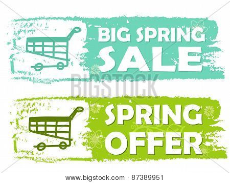 Big Spring Sale And Offer With Shopping Cart Signs, Green Drawn Labels