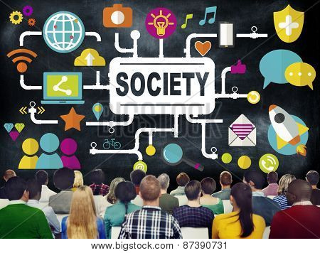 Society Social Media Social Networking Connection Concept