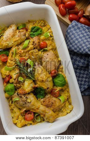 Roasted Chicken Quarters With Curry Vegetables