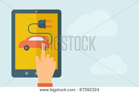 A hand is touching the screen of a tablet with rechargeable car icon. A contemporary style with pastel palette, light blue cloudy sky background. Vector flat design illustration. Horizontal layout
