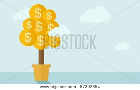 Plant growing coin with dollar sign. A contemporary style with pastel palette soft blue tinted background with desaturated clouds. Vector flat design illustration. Horizontal layout.