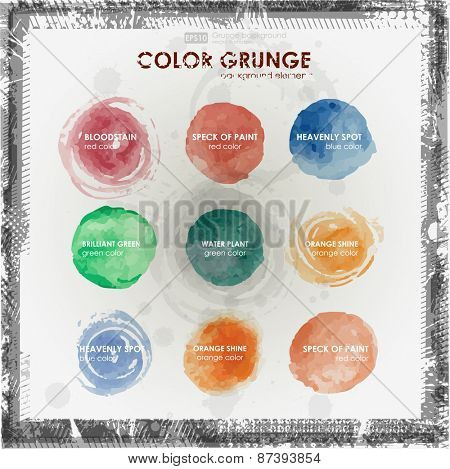 Watercolor hand painting stains,spot,design elements. Bright design template.Vintage vector background.Warm sunny colors : Orange,red,magenta