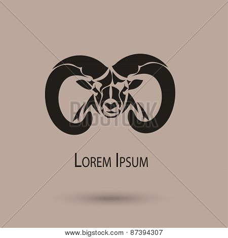 2015 Chinese New Year Of The Ram Head Black Silhouette. Vector Illustration