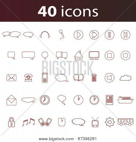 Linear Icon Set for Your Business, Websites, Prints - 40 Icons