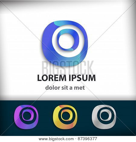 Business Abstract Circle Shape. Corporate, Media, Technology Styles Vector Icon Design Template. Vec