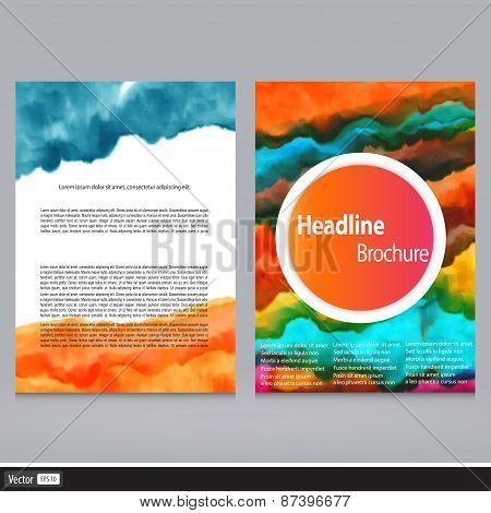 Watercolor Brochure Design. Modern Back And Front Flyer Backgrounds. Vector Illustration