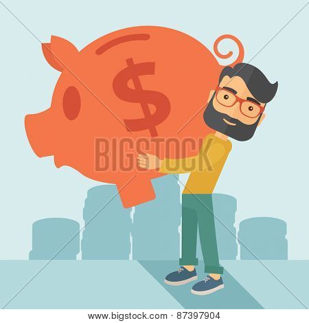 Businessman carries on his two arms his big piggy bank for economy purposes saving money is very important. A contemporary style with pastel palette soft blue tinted background. Vector flat design