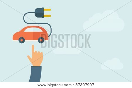 A hand pointing to rechargeable car icon.  A contemporary style with pastel palette, light blue cloudy sky background. Vector flat design illustration. Horizontal layout with text space on right part.