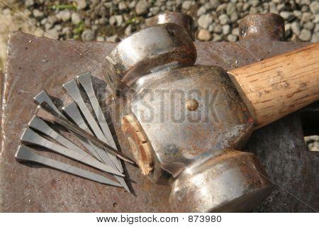 Hammer And Horseshoe Nails