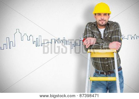 Manual worker against grey