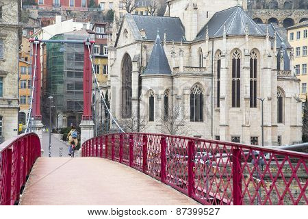 Eglise Saint Georges Church View From Passerelle Saint-georges Footbridge In A Clody Day, Lyon, Fran