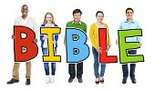 foto of bible story  - Multiethnic Group of People Holding Letter Bible - JPG
