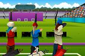 image of archery  - A vector illustration of archers in the archery match for sport competition series - JPG