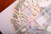 stock photo of money prize  - Background of the Ukrainian money hryvnia - JPG